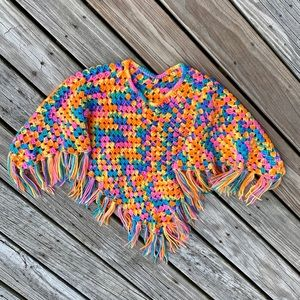Child's Vintage Crocheted Fringed Rainbow Poncho